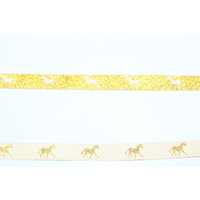 HORSE RIBBON 5 yd Metallic White & Gold 16mm