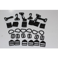 Package Deal 6 x ea 25mm plastic snaphook, d-ring, triglides, adjustor's, camlock
