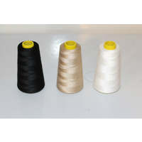 Spun polyester sewing thread M120 3000 package deal 3 spools white, beige, black